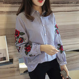 Plus size rose floral embroidery striped shirts