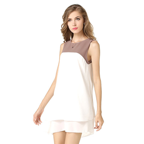 Sleeveless Dress Double Color Stitching Irregular O-neck Mini Dresses