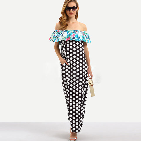 Polka Dots summer Maxi Dress Women Floral Print Lon Dresses