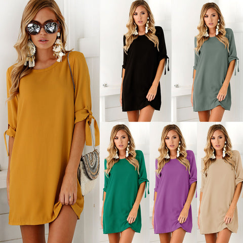 Tunic Tie Bow Work Dresses Casual Office Half Sleeve A-line Dresses