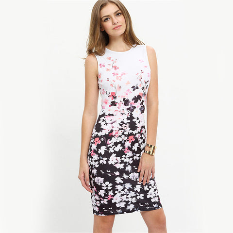 Pencil Dress Floral Print Sleeveless