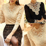 Long Sleeve Crochet Blouses Shirts Stand Collar Tops