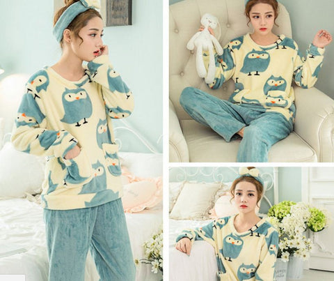 Winter Night Suit Two piece Top With Pyjamas Lucky Owl Winter Wear- Available online on Buyvel