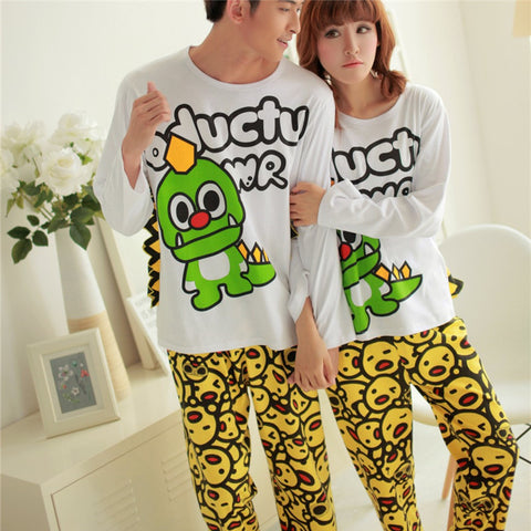 Couples Lovers Loose Animals Night Suit Long Sleeves Cute Couple Nightsuit Night wear Night Suit