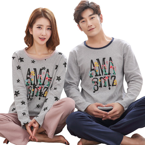 New Spring Couple Night Suit Set Long Sleeve Round Neck Letter Pattern