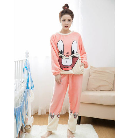 Winter Night Suit Two piece Top With Pyjamas Pink Bugs bunney Winter Wear- Available online on Buyvel