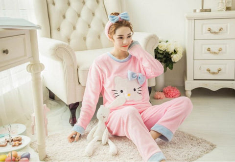 Winter Night Suit Two piece Top With Pyjamas Pink Hello kitty Winter Wear- Available online on Buyvel