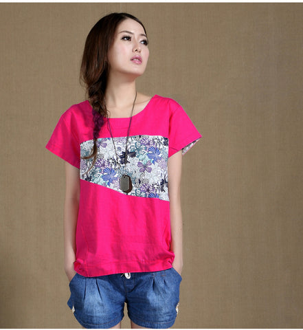 Korean Irregular hem print Tee Rose Red Tops, Tees & Shirts- Available online on Buyvel