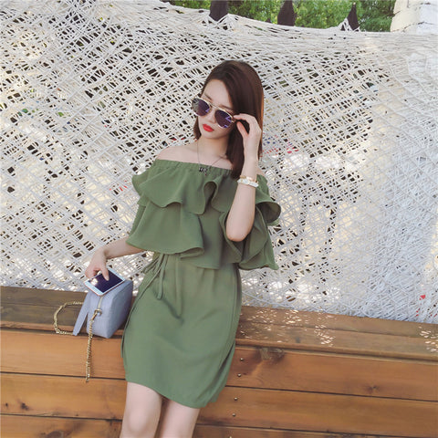 Summer new Korean collar strapless flounced chiffon dress Dresses- Available online on Buyvel