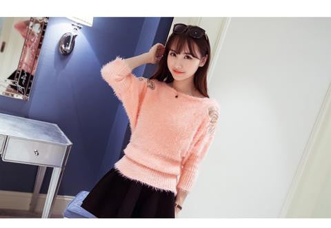 Butterfly Cutwork Hairy Sweater Pink Winter Wear- Available online on Buyvel