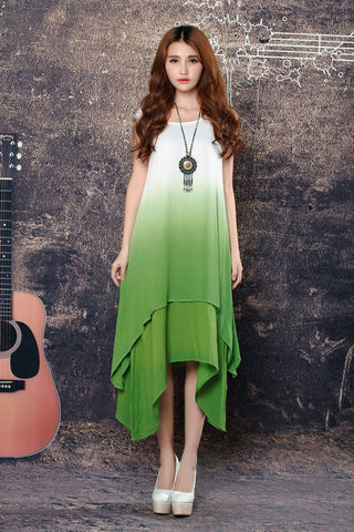 Shaded Maxi Dress Without cloth Belt Green Dresses- Available online on Buyvel