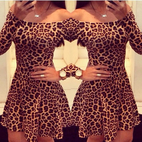 Cold collar Leopard Dress Dresses- Available online on Buyvel