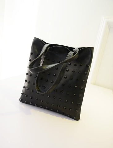 Rivet TOTE Shoulder & Hand Bag Black Creative Bags- Available online on Buyvel