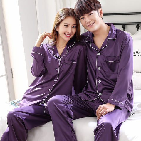Satin Silk Pajamas Sets Couple Sleepwear