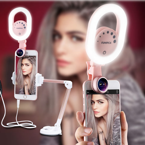 Lieqi LED Selfie Ring Light USB Rechargeable with Wide Angle Lens,Photography Brightness Enhancing Video Flash for iPhone