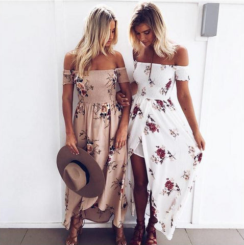 Off Shoulder Summer Bohemian Beach Dresses Printed Floral Vintage Chiffon White Maxi Dress
