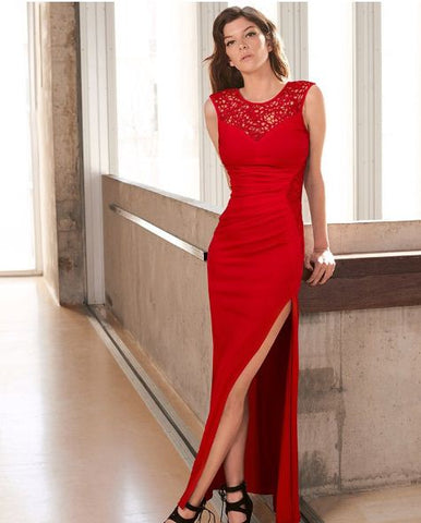 Party Gown Red Mesh Neck