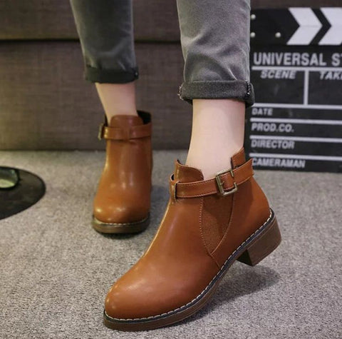Buckled Boots Euro Style Tan Brown Women's Footwear- Buyvel