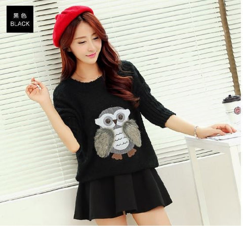 3D Owl Sweater BLACK Winter Wear- Buyvel