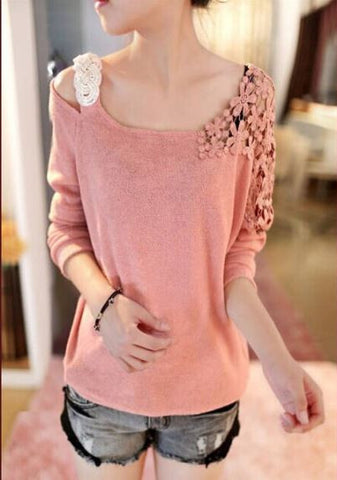 Batwing Crotche Sweater Pink Winter Wear- Buyvel