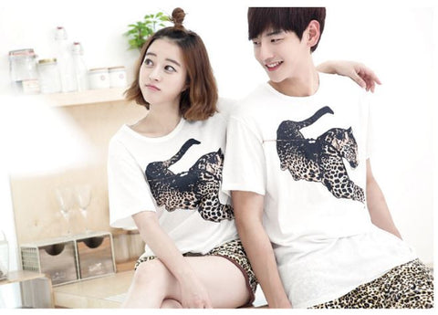 Couple Night Suit - Sibling Night dress Leopard Print Couple Night Suit- Available online on Buyvel