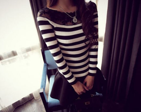 Black & White Striped Sweater with Netted Neck pattern Winter Wear- Buyvel