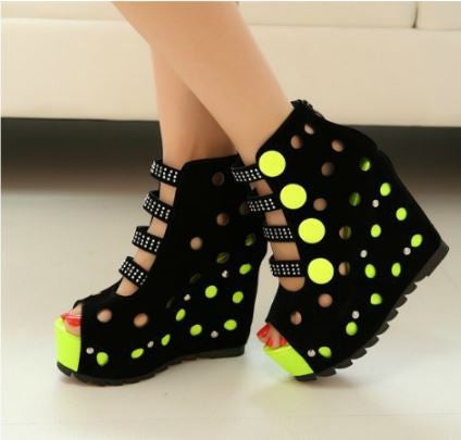 High Heeled Electric Colored Wedges Open Toed Fish Mouth Peep Toe Sandals Women's Sandals- Available online on Buyvel