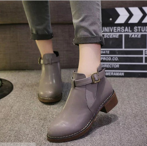 Buckled Boots Euro Style Grey