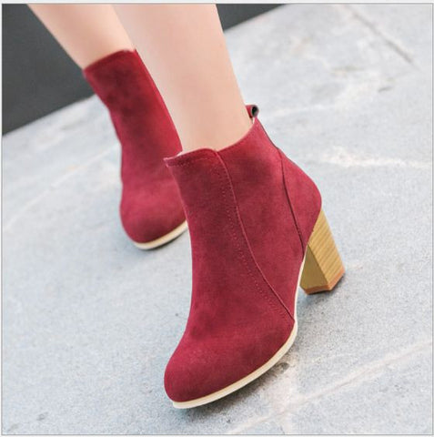 Autumn Zipper Martin Boots Red Wine Women's Footwear- Buyvel