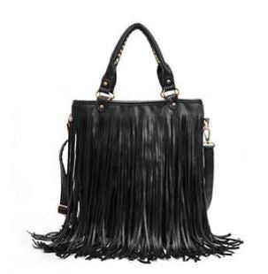 Boho Fringed Sling Black