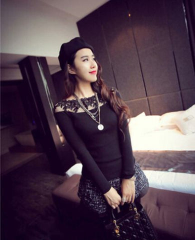 Black Sweater with Netted Pattern Winter Wear- Buyvel