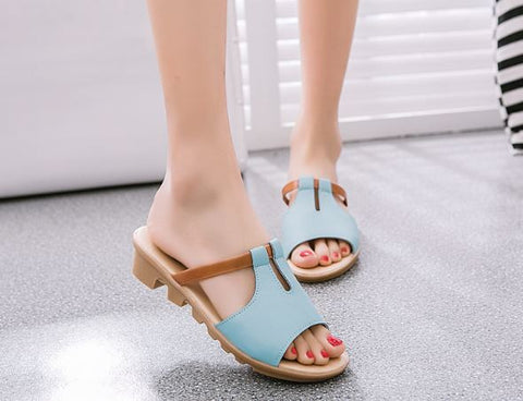 Comfortable Flat Powder Blue Platform Slides Women's Footwear- Available online on Buyvel