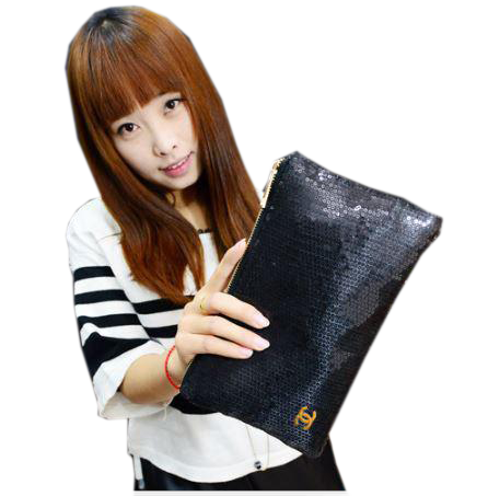 Glitter/ Sequinned Pouches Black Wallets & Clutches- Buyvel