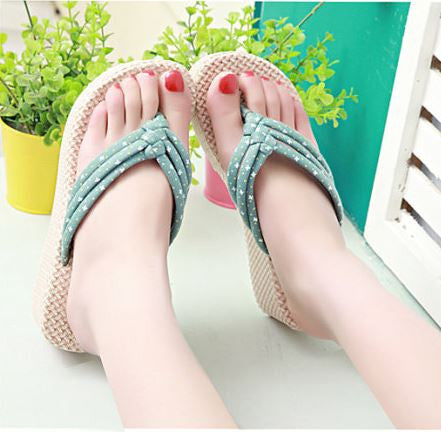 Bohemian Mint Color Women Platform Slippers