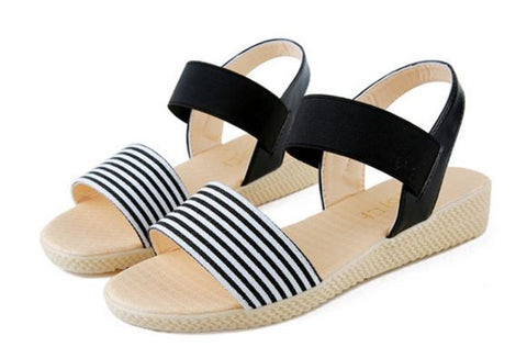 New Roman Summer Flat Sandals Striped Women's Sandals- Available online on Buyvel