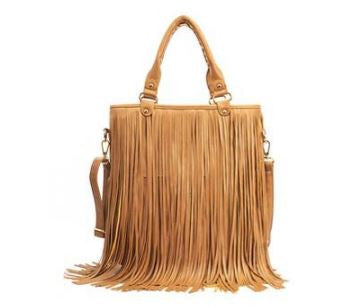 Boho Fringed Sling Brown