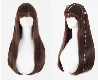 New resistant Fashion Lady Women Brown Straight long Washable wig Hair Extensions & Wigs- Buyvel