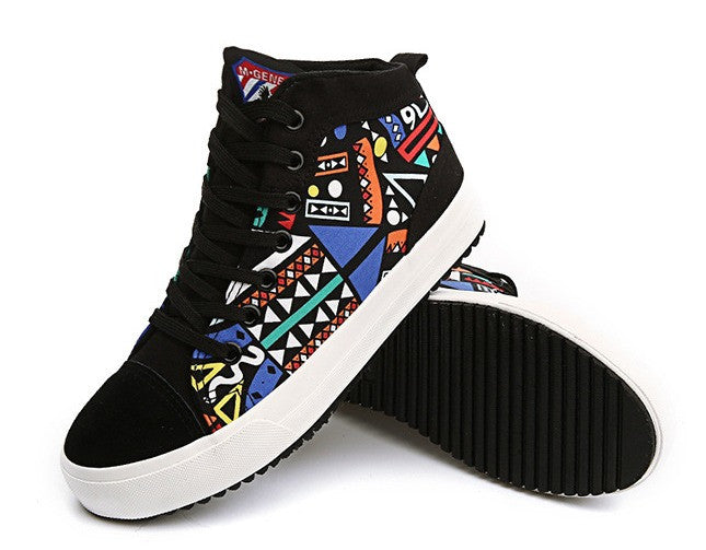 New High Top Canvas Color Graffiti Korean Style...