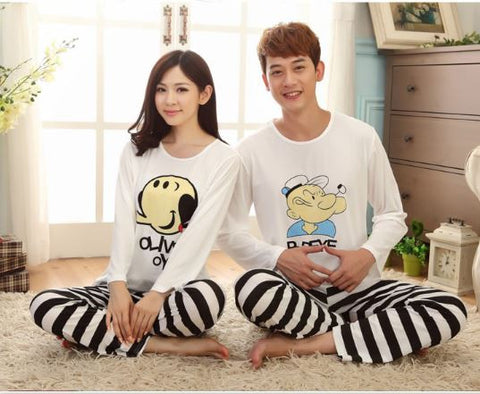 Couple Night Suit - Couple night dress Olive and Popeye Couple Night Suit- Available online on Buyvel