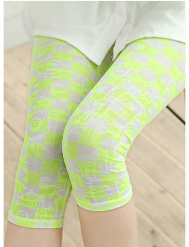 Green Block Printed Milk Silk Leggings Leggings & Jeggings- Available online on Buyvel
