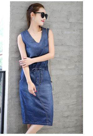 Denim Midi Dress drawstring pattern