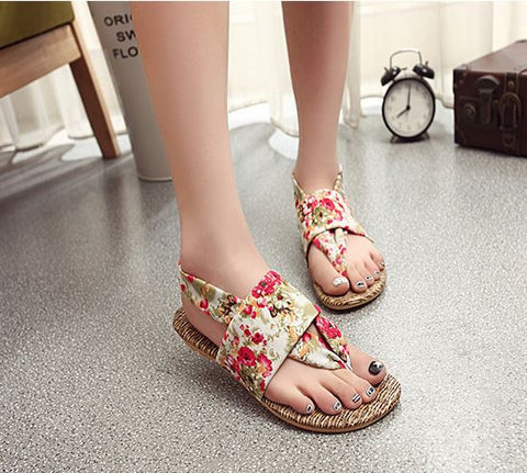 Roman Floral Flats Women's Footwear- Available online on Buyvel