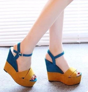 South Korean Wedges Sandals High Rise Sexy - Blue Women's Footwear- Available online on Buyvel