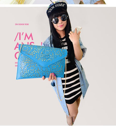 Cutwork Envelop & Clutches Blue Wallets & Clutches- Buyvel