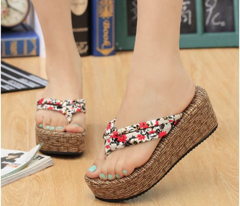 Bohemian Floral Platform Slippers Women's Footwear- Available online on Buyvel