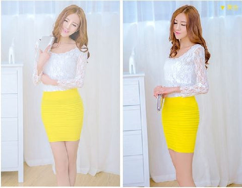 Stretchable Mini Skirt cum Tube Top - Yellow Shorts & skirts- Available online on Buyvel