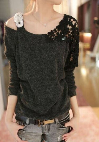 Batwing Crotche Sweater Black Winter Wear- Buyvel