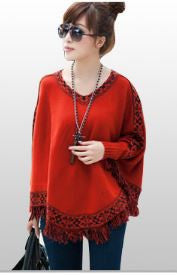 Woolen Ponchu Red Winter Wear- Available online on Buyvel