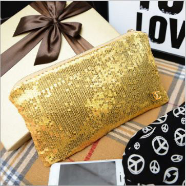 Glitter/ Sequinned Pouches Golden Wallets & Clutches- Buyvel