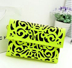 Neon burst Cutwork Envelope Clutches cum Sling Neon Green Wallets & Clutches- Available online on Buyvel